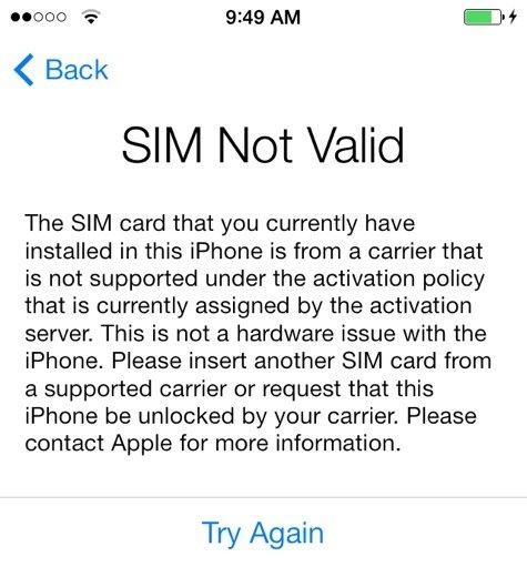 iphone 3gs sim not valid